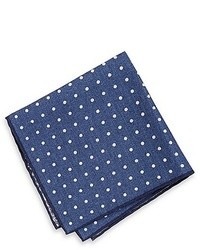 Pocket square double faced italian cotton linen print medium orange medium 31829