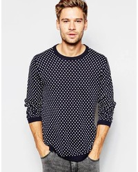 Navy Polka Dot Crew-neck Sweater