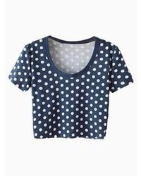 Deep blue polka dot crop top t shirt medium 61561