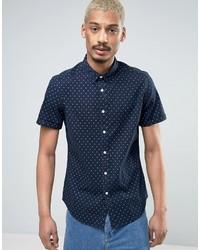 Asos Stretch Slim Denim Shirt With Polka Dots