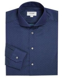 Navy Polka Dot Dress Shirt