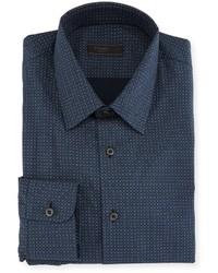 Prada Dot Print Dress Shirt Blue
