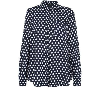 New Look Navy Polka Dot Long Sleeve Shirt