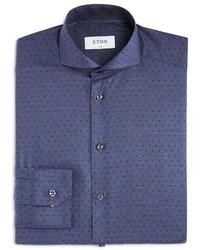 Eton Of Sweden Small Denim Broken Polka Dot Slim Fit Dress Shirt