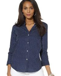 Petites polka dot button front shirt medium 175887