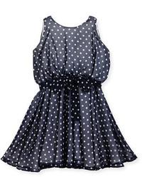 Helena Sleeveless Polka Dot Georgette Dress Navy Size 7 16