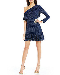 WAYF Laci Dotted Ruffled One Shoulder Fit And Flare Dress
