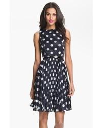 Petite burnout polka dot fit flare dress medium 516741