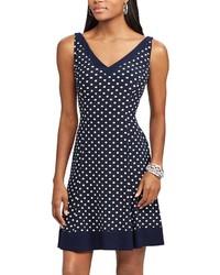 Chaps Petite Polka Dot Fit Flare Dress