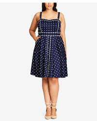 City Chic Trendy Plus Size Piped Dot Print Dress