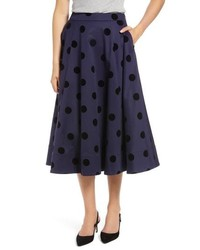 1901 Black Dot Circle Stretch Cotton Midi Skirt