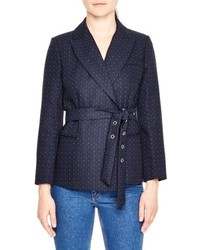 Sandro Polka Dot Belted Jacket