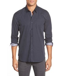 Henshall trim fit long sleeve polka dot sport shirt medium 358659