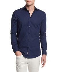 Michael Kors Michl Kors Nate Dot Print Slim Fit Sport Shirt Navy