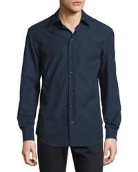 Armani Collezioni Micro Dot Print Woven Sport Shirt Navywhite
