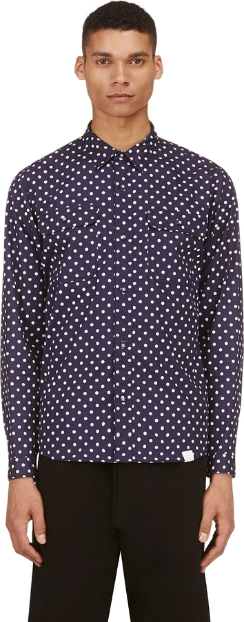White Mountaineering Navy White Polka Dot Shirt