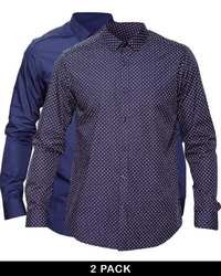 Asos Smart Shirt In Long Sleeve 2 Pack Plainpolka Dot Navy