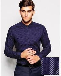 Asos Smart Shirt In Long Sleeve With Polka Dots