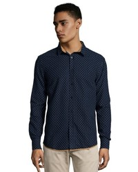 Zak Navy And White Polka Dotted Lloyd Shirt