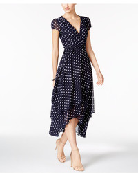 Betsey Johnson Polka Dot Faux Wrap Midi Dress