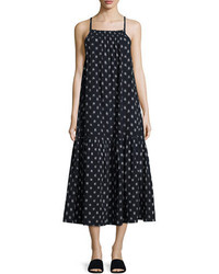 Current/Elliott The Holly Dotted Ikat Sleeveless Midi Dress Blue