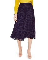 Navy Polka Dot Midi Skirt