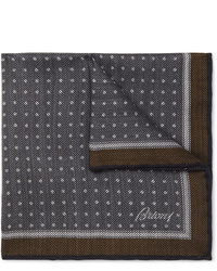 Brioni Polka Dot Wool And Silk Blend Twill Pocket Square