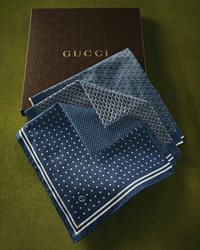 Gucci Set Of 3 Pocket Squares Blue