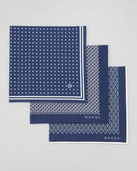 Gucci Set Of 3 Pocket Squares Blue