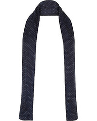 River Island Navy Polka Dot Formal Skinny Scarf