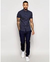 571e93f59832 ... Asos Brand Skinny Shirt In Navy Polka Dot With Short Sleeves