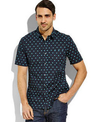 French Connection Navy Polka Dot Sport Shirt