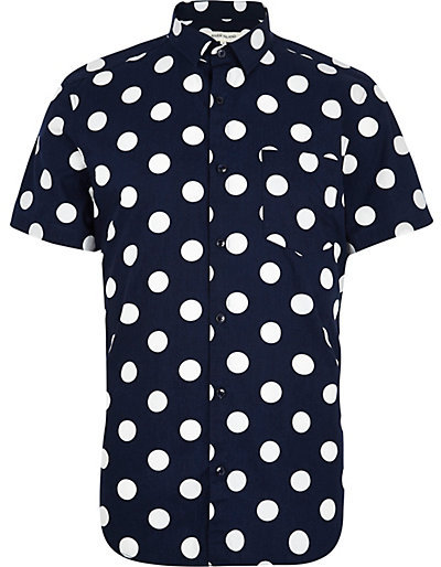 River island navy blue polka dot print short sleeve shirt for Mens polka dot shirt short sleeve