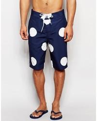 Asos Brand Boardie Swim Shorts With Polka Dot Print