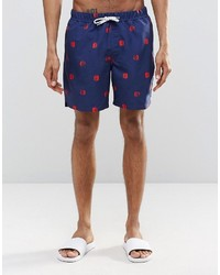 Asos Brand Swim Shorts With Polka Dot Print Drawcord Detail In Mid Length