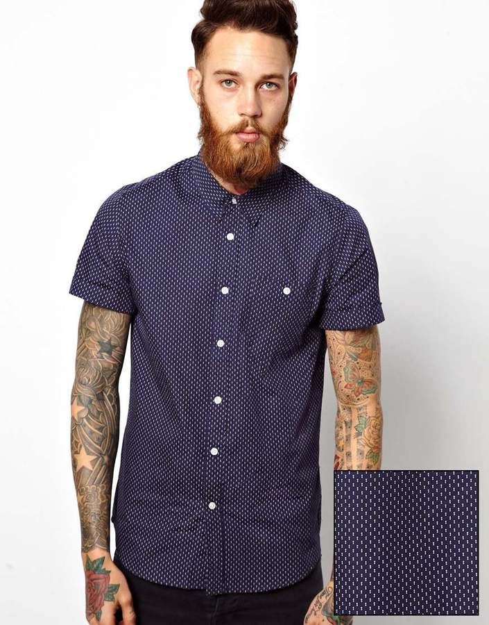 Asos shirt in short sleeve with double polka dot printnavy for Mens polka dot shirt short sleeve