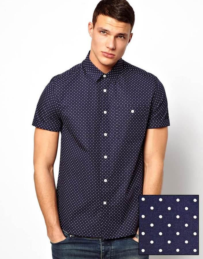 Asos Shirt In Short Sleeve With Polka Dot Print Navy