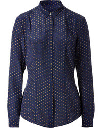 London silk polk dot print shirt medium 35473