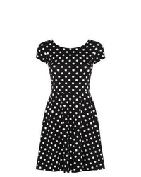 New look black monochrome polka dot skater dress medium 451142