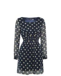New look tenki navy polka dot skater dress medium 451141