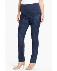 Maternal America Print Maternity Skinny Jeans Polka Dot Print Size Medium Medium