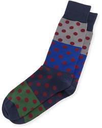 Paul Smith Colorblock Polka Dot Printed Socks Blacknavy