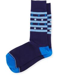 Joe's Jeans Joes Striped Polka Dot Knit Socks Navy