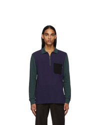 Ps By Paul Smith Blue And Green Long Sleeve Polo
