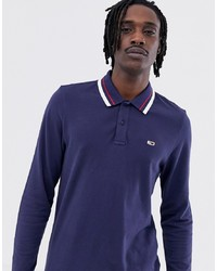 Tommy Jeans Classic Flag Logo Long Sleeve Pique Polo In Navy