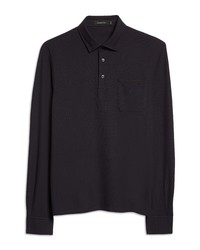Ermenegildo Zegna Cotton Pique Long Sleeve Polo Shirt