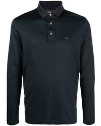 Emporio Armani Logo Print Long Sleeve Polo Shirt