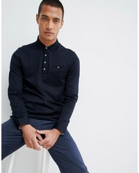 Ted Baker Long Sleeve Polo Shirt In Navy Texture