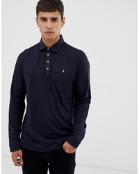 Ted Baker Long Sleeve Polo Shirt With Woven Collar