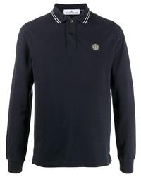 Stone Island Long Sleeved Logo Polo Shirt